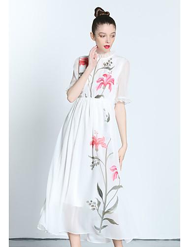 Mulheres Casual Luva Lantern Chifon balanço Vestido Sólido Floral Gola Redonda Médio