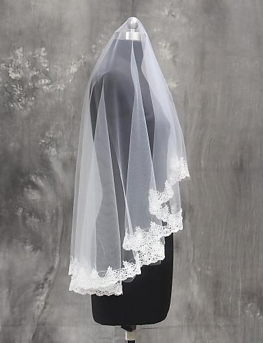 Einschichtig Spitzen-Saum Hochzeitsschleier Fingerspitzenlange Schleier Mit Spitze Tüll
