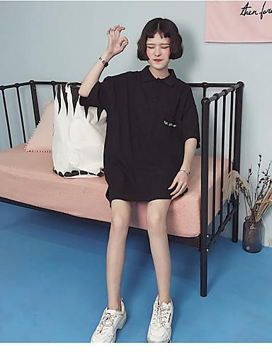 Damen Lose Kleid-Ausgehen Solide Rundhalsausschnitt Knielang Kurzarm Baumwolle Sommer Mittlere Hüfthöhe Mikro-elastisch Mittel