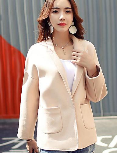 Damen Solide Einfach Lässig/Alltäglich Jacke,V-Ausschnitt Frühling Lange Ärmel Standard Baumwolle