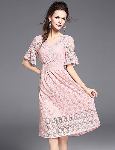 Damen A-Linie Hülle Spitze Kleid-Ausgehen Strand Urlaub Einfach Niedlich Anspruchsvoll Solide Stickerei V-Ausschnitt Midi Kurzarm