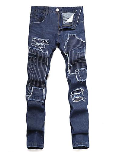 Homens Moda de Rua Algodão Solto Delgado Jeans Calças - Sólido Retalhos Flor rasgado