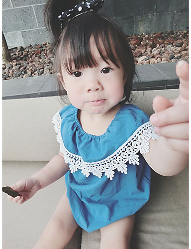 Dítě Dívčí Bavlna Výšivka Krajka Módní Léto Jeden kus, Krátký rukáv Volánky Vodní modrá Světlá růžová