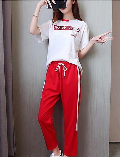 Damen einfarbig Einfach Aktiv Lässig/Alltäglich Sport T-Shirt-Ärmel Hose Anzüge,Rundhalsausschnitt Sommer Kurzarm