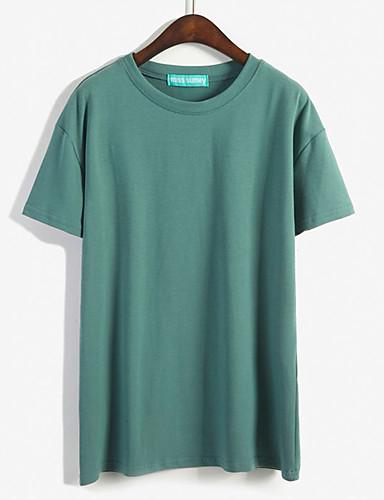 Damen Solide Einfach Lässig/Alltäglich T-shirt,Rundhalsausschnitt Sommer Kurzarm Baumwolle Undurchsichtig