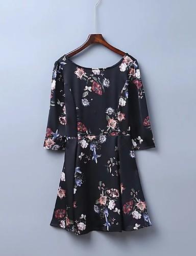 Damen A-Linie Lose Etuikleid Kleid Einfach Street Schick Blumen Rundhalsausschnitt Übers Knie Seide Baumwolle Sommer Herbst Mittlere