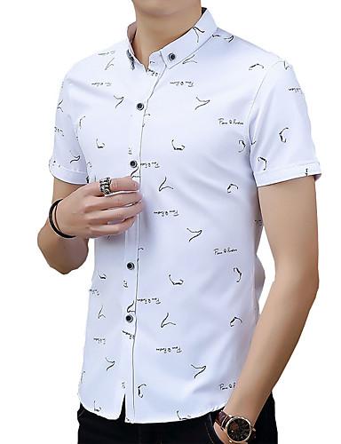 Herren Solide Punkt Druck Einfach Retro Street Schick Lässig/Alltäglich Arbeit Übergröße Hemd,Hemdkragen Frühling Sommer Kurzarm