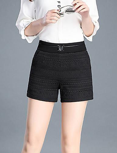 Damen Einfach Hohe Hüfthöhe Mikro-elastisch Kurze Hosen Schlank Hose,Reine Farbe Jacquard Pailletten einfarbig