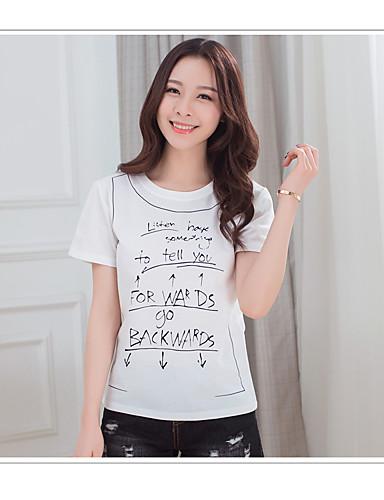 Mulheres Camiseta - Feriado Casual Sólido / Letra Algodão / Verão