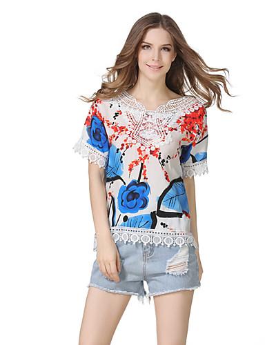 Damen Blumen Retro Niedlich Street Schick Lässig/Alltäglich Festtage Ausgehen T-shirt,Rundhalsausschnitt Kurzarm Polyester