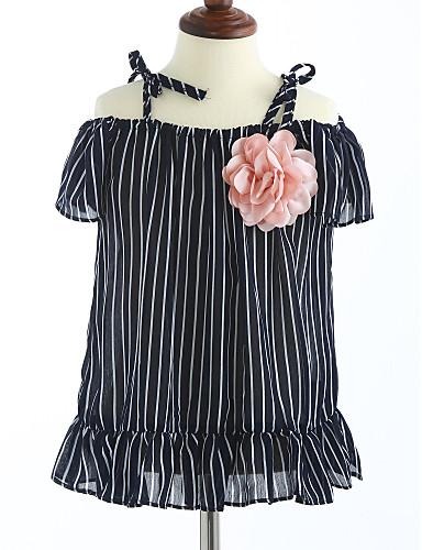 Mädchen Kleid Gestreift Baumwolle Sommer Kurzarm