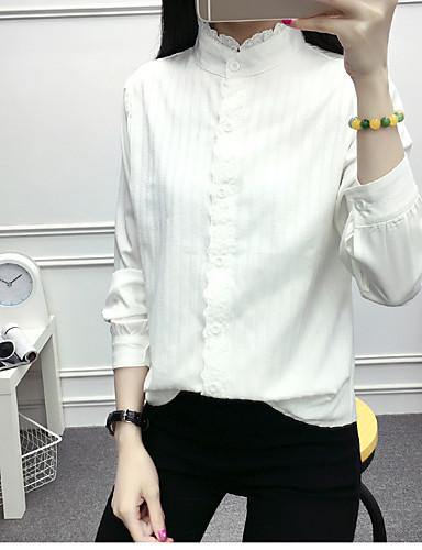 Damen Solide Freizeit Alltag Hemd, Rundhalsausschnitt Baumwolle