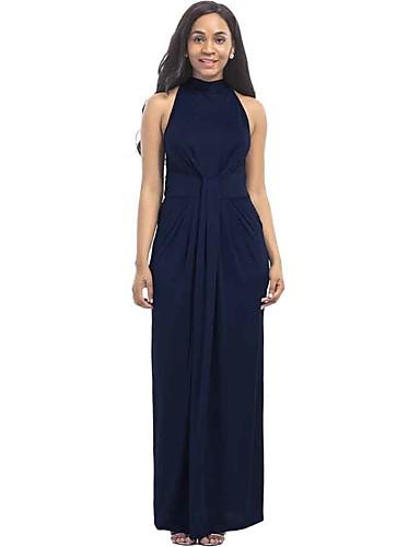 Mulheres Tamanhos Grandes Moda de Rua Manga Alargamento Bainha Vestido Sólido Longo