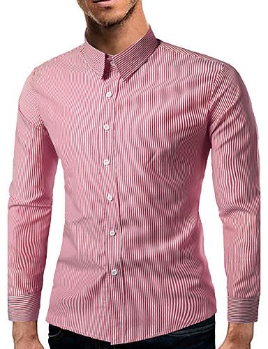 Herrn Gestreift-Freizeit Baumwolle Hemd