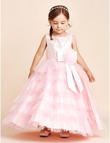 Ball gown lattia pituus kukka tyttö mekko - polyesteri hihaton jalokivi niska applique