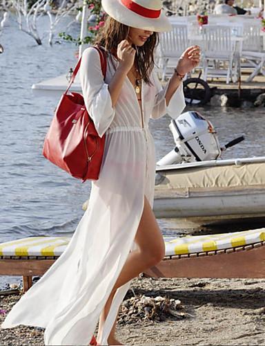 Mulheres Chifon balanço Vestido Sólido Decote em V Profundo