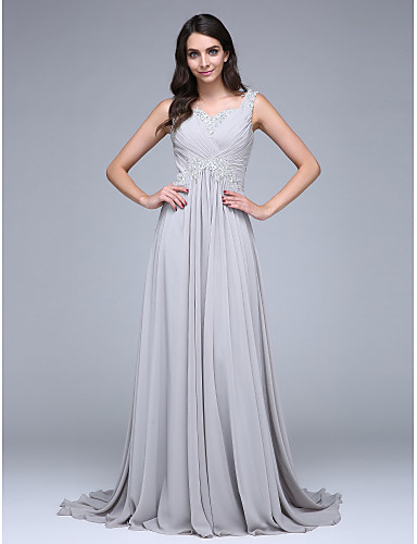 A-Linie Sweetheart Hof Schleppe Chiffon Formeller Abend Kleid mit Applikationen / Überkreuzte Rüschen durch TS Couture®