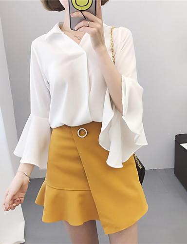 Damen Solide Einfach Lässig/Alltäglich Hemd,Hemdkragen Frühling Sommer ¾-Arm Andere Dünn