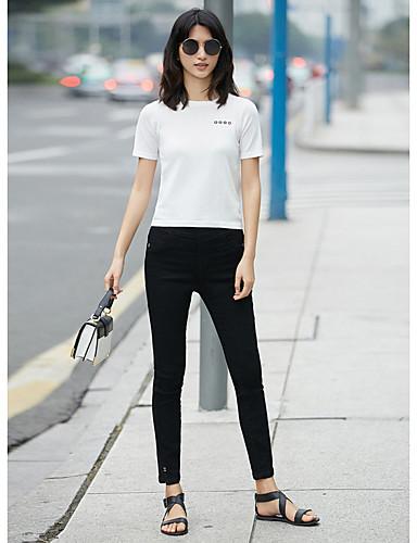 Naisten Kirjailu Yksinkertainen T-paita