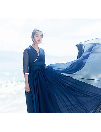 Damen Swing Kleid-Strand Solide V-Ausschnitt Maxi Langarm Polyester Sommer Tiefe Hüfthöhe Mikro-elastisch Mittel