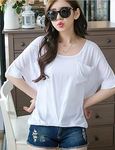 Damen Solide Retro Ausgehen T-shirt,Rundhalsausschnitt Sommer Kurzarm Baumwolle Mittel