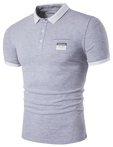 Homens Polo Fofo Moda de Rua Sólido Algodão Colarinho de Camisa