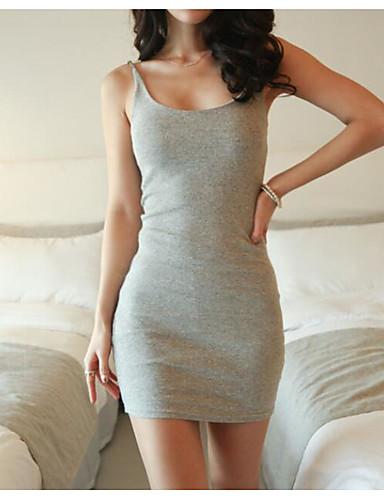 Damen Grundlegend Bodycon Kleid Solide Übers Knie