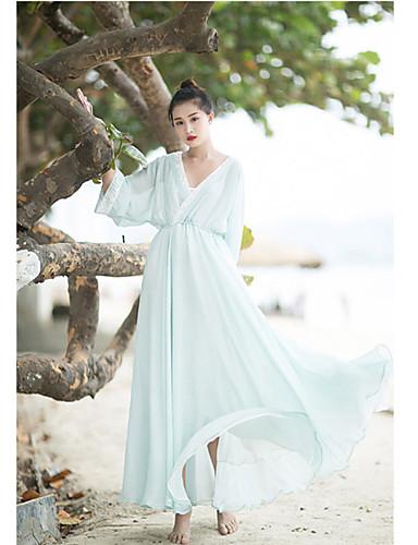 Dámské Běžné/Denní Swing Šaty Jednobarevné,Dlouhý rukáv Do V Midi Polyester Léto High Rise Neelastické Střední