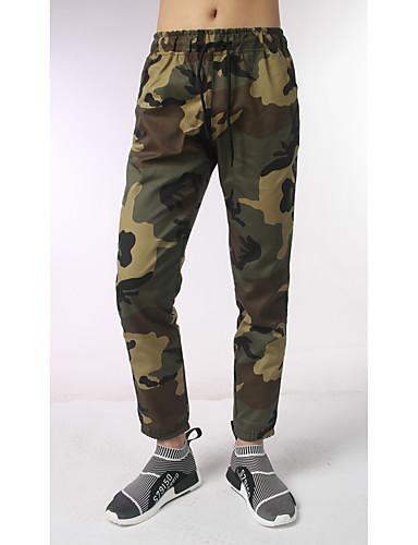 Pánské Aktivní Mikro elastické Rovné Kalhoty Rovné Mid Rise Camuflaj