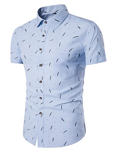 Men's Slim Shirt - Geometric Print Spread Collar