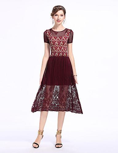 Dámské Vintage Sofistikované Cikánský A Line Pouzdro Šaty - Květinový, Krajka Plisé Délka ke kolenům