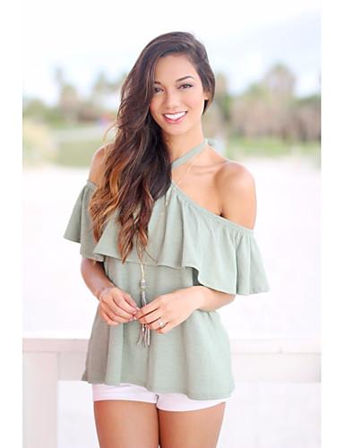 Damen Solide Einfach Lässig/Alltäglich T-shirt,Schulterfrei Kurzarm Baumwolle
