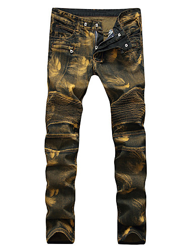 Men's Punk & Gothic Street chic Plus Size Cotton Slim Loose Slim Jeans Relaxed Pants - Solid Colored Print Mixed Color