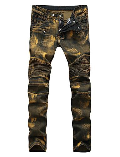 Homens Punk & Góticas Moda de Rua Tamanhos Grandes Algodão Delgado Solto Delgado Jeans Largo Calças - Sólido Estampado