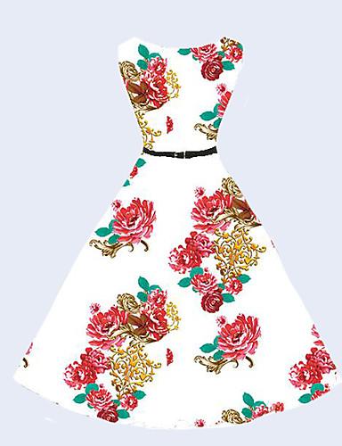 Mulheres Vintage Moda de Rua balanço Vestido Floral Altura dos Joelhos
