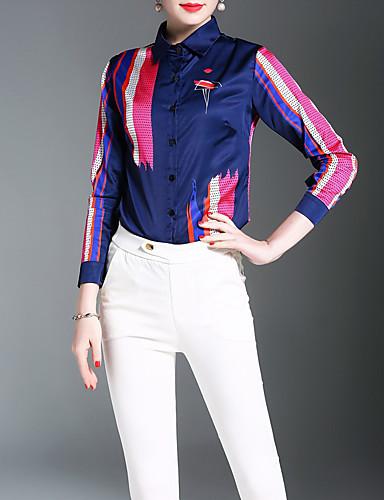 Mulheres Camisa Social - Trabalho Temática Asiática Estampado Colarinho de Camisa