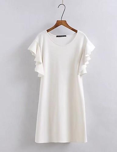 Damen Lose Etuikleid Kleid-Ausgehen Lässig/Alltäglich Einfach Street Schick Solide Rundhalsausschnitt Übers Knie Kurzarm Seide Baumwolle