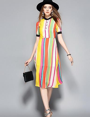 Damen Niedlich A-Linie Kleid Einfarbig Midi