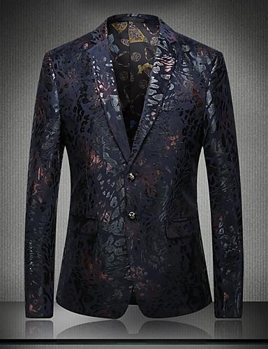 voordelige Uitverkoop-Heren Verfijnd Blazer V-hals Lange mouw Katoen / Polyester Pailletten / Patchwork / Jacquard blauw / Rood / Geborduurd