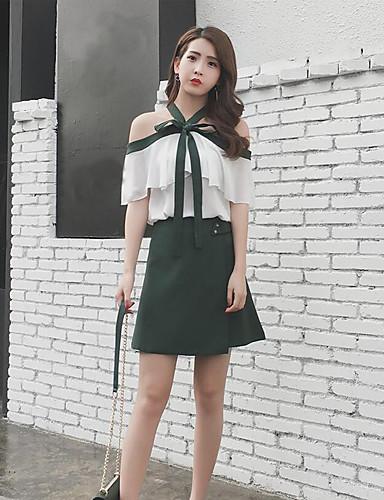 Damen einfarbig Sexy Lässig/Alltäglich Bluse Rock Anzüge,Bateau Sommer strenchy