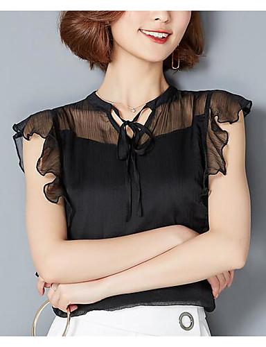 Damen Solide - Freizeit Baumwolle Bluse / Sommer