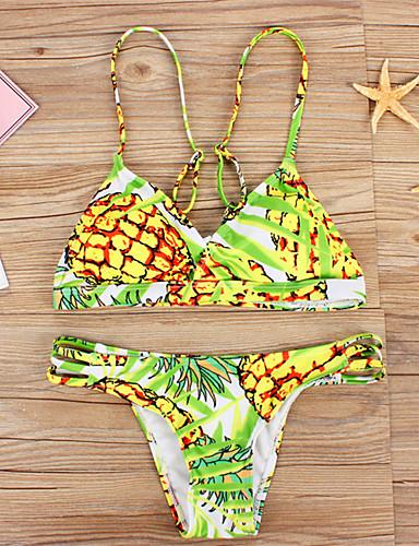 Damen Halfter Bikinis Floral Mit Schleife Polyester Elasthan,Druck
