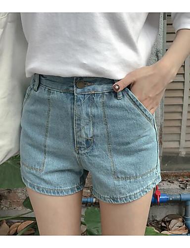 Dámské Jednoduchý Mikro elastické Džíny Kraťasy Kalhoty Široké nohavice High Rise Jednobarevné
