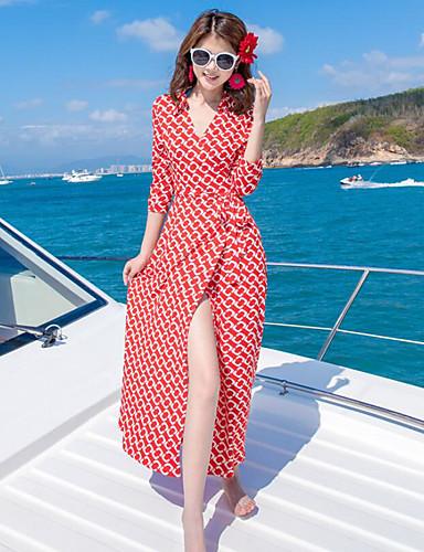 Damen Swing Kleid-Strand Druck V-Ausschnitt Maxi ¾-Arm Andere Sommer Mittlere Hüfthöhe Mikro-elastisch Dünn