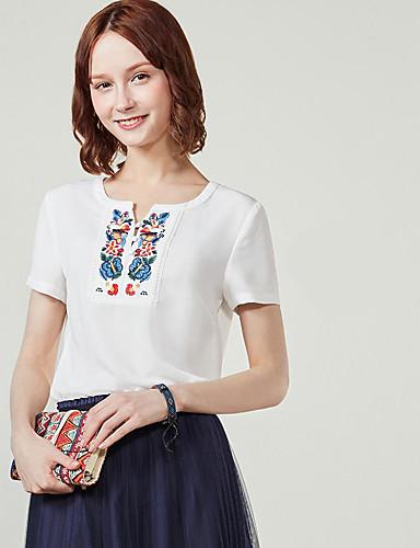 Naisten Yhtenäinen / Kirjailu / Geometrinen printti Yksinkertainen T-paita