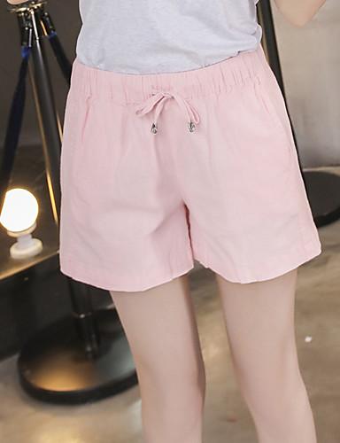 Damen Einfach Mittlere Hüfthöhe Mikro-elastisch Chinos Kurze Hosen Lose Breites Bein Hose einfarbig