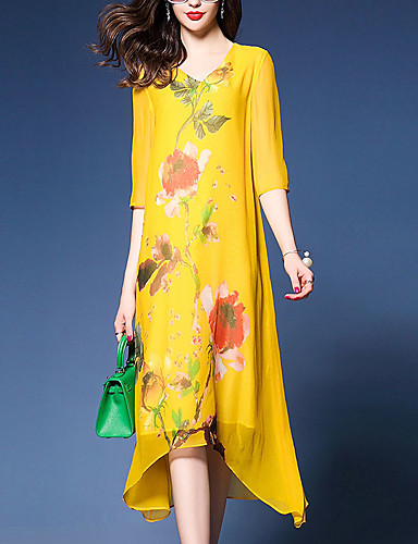 Women's Street chic Boho Loose Shift Dress - Floral, Printing V Neck