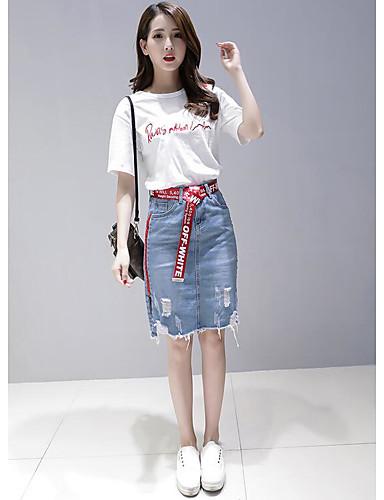 Damen Buchstabe Niedlich Ausgehen T-Shirt-Ärmel Rock Anzüge,Rundhalsausschnitt Sommer Kurzarm Jeansstoff