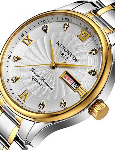 KINGNUOS Pánské Unikátní Creative hodinky Hodinky na běžné nošení Módní hodinky Náramkové hodinky Křemenný Kalendář Nerez Kapela Luxus