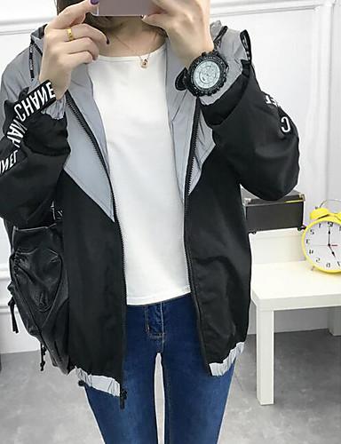 Damen Solide Einfach Lässig/Alltäglich Jacke,Mit Kapuze Frühling Lange Ärmel Standard Polyester